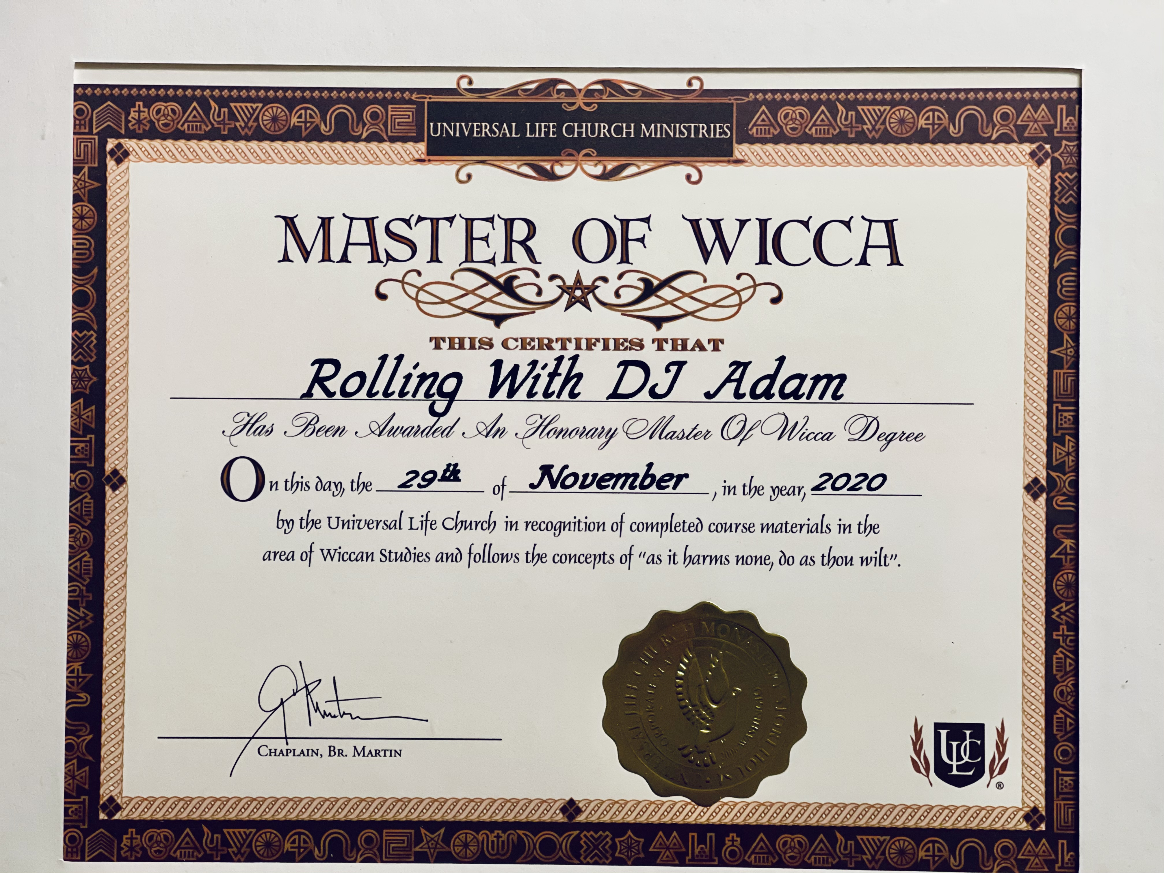 Master of Wicca Certificate